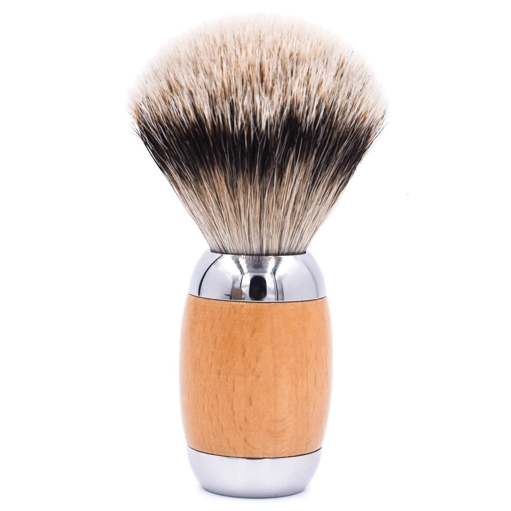 Wood & Chrome Handle Silvertip Badger Shave Brush & Stand